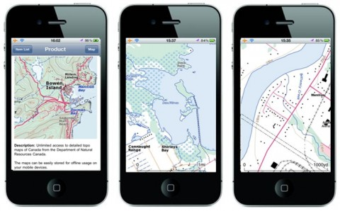 Topo maps for Canada for iPhone, iPad, Android, Symbian GPS phones