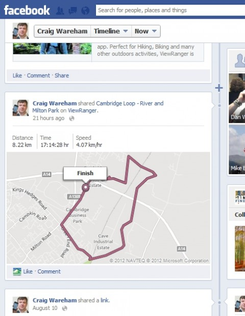viewranger for facebook timeliine - share maps of trail routes and gps tracks on your facebook timeline