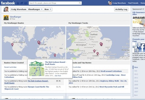 viewranger for facebook timeline - share trail routes and gps tracks to your facebook timeline