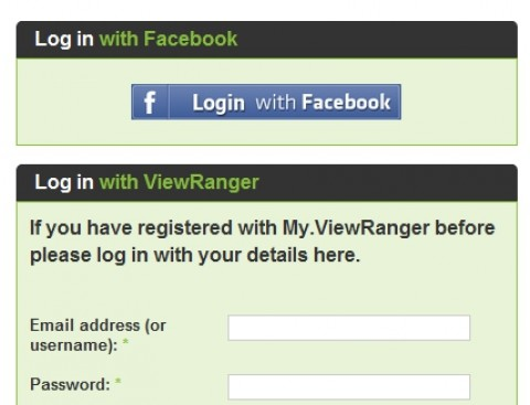 viewranger for facebook timeline - one-click log-in